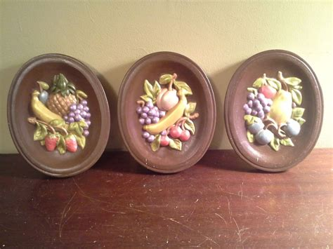 decorative ceramic wall plaques vtg set of 3 chalkware ceramic fruit wall plaques