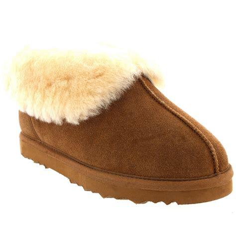 womens slipper boots womens real suede australian sheepskin fur lined warm