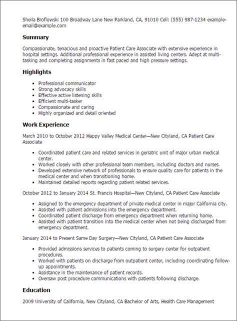 Patient Care Associate Cover Letter by Professional Patient Care Associate Templates To Showcase Your Talent Myperfectresume