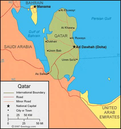 political map of qatar qatar map and satellite image