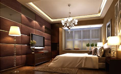 Bedroom Design Tv Wall 3d Master Bedroom Wood Flooring Cabinets And Sofas