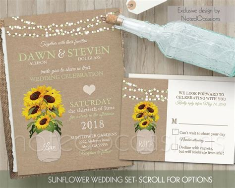 sunflower wedding invitations templates sunflower wedding invitation set rustic wedding