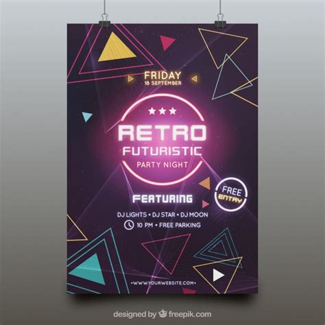 templates for party posters futuristic party poster template vector free download