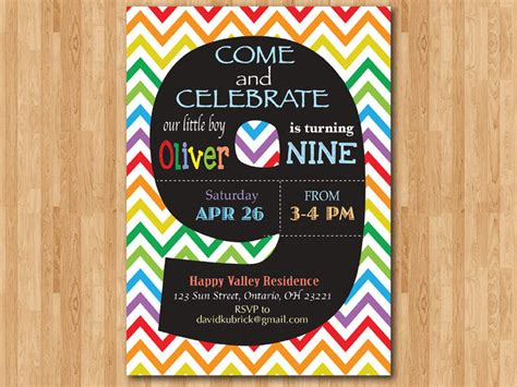 free printable birthday invitations 9 years old rainbow 9th birthday invitation colorful chevron birthday