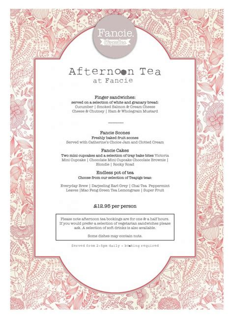 Afternoon Tea Menu Fancie Sheffield Tea Rooms Pinterest Afternoon Tea Sheffield And Teas Afternoon Tea Menu Template