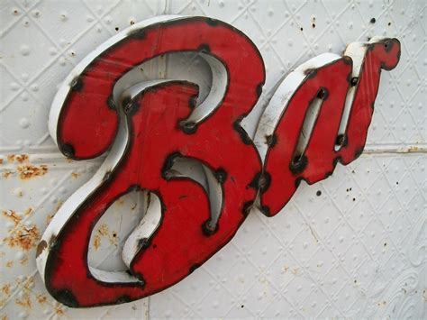Handmade Metal Signs - rustic bar 3d metal handmade sign