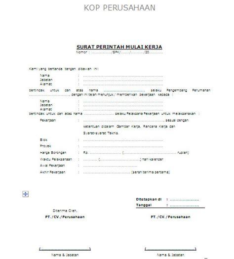 Contoh Surat Perintah Kerja by Surat Perintah Mulai Kerja Spmk Nstone Architecture