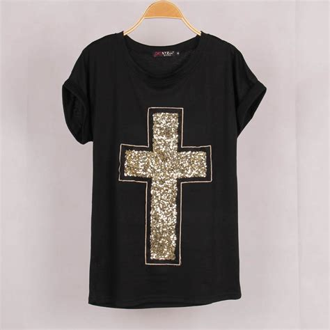 T Shirt Cross free shipping casual cross sequined t shirt blusas bat sleeve stretch summer plus