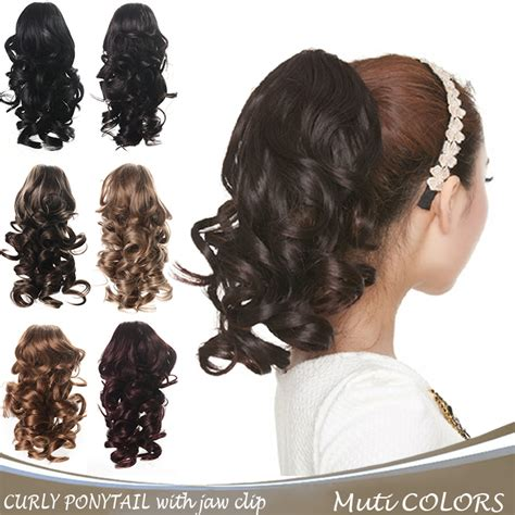 realistic drwa string pony tail hair 12 quot long hair ponytail curly hair synthetic claw clip