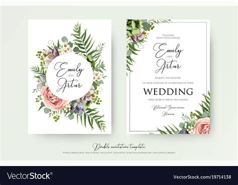 floral wedding invitation card design vector image