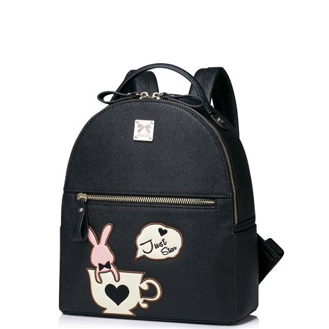 Bunny Backpack In Black just pu leather 2016 new lovely rabbit cups backpack black