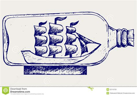 dessin bateau bouteille vieux voilier dans la bouteille en verre illustration de