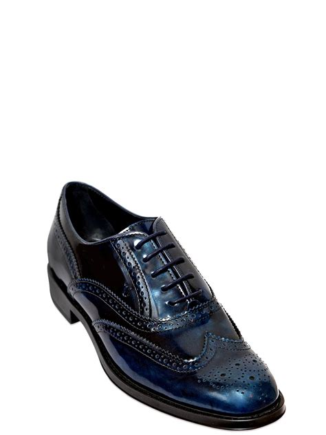 tods oxford shoes tod s 25mm brushed leather oxford shoes in blue for lyst