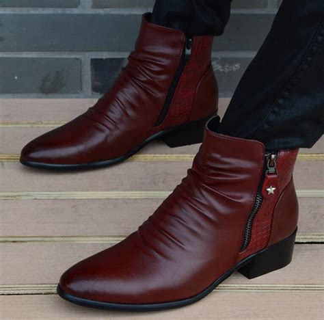 mens dress boots fashion fashion luxury brand mens leather boots genuine zipper