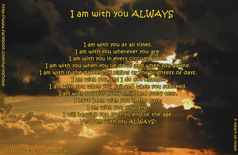 Who I Am With You i am with you always of