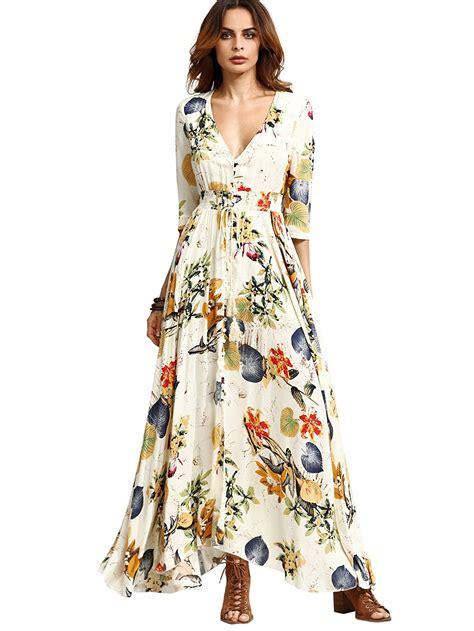 New Dress Flower Maxy 2 By milumia s button up split floral print flowy