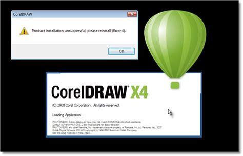 corel draw x4 error reading file product installation unsuccessful please reinstall error