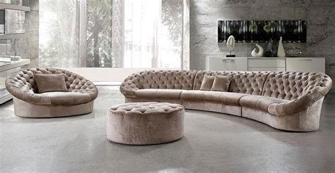 round sofas sectionals leon fabric sectional sofa chair and round ottoman