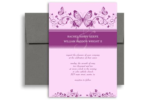 wedding invitation purple templates 8 best images of purple butterfly templates printable free
