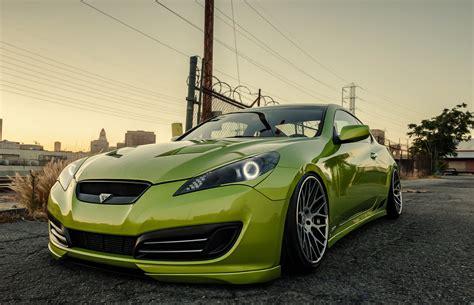 modded cars wallpaper hyundai genesis stance tuning green hyundai coupe genesis