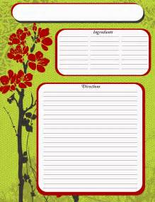 full page recipe template free full page green recipe