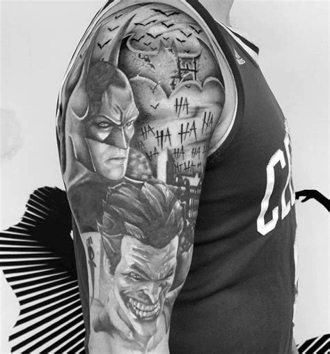 joker tattoo black and white 90 joker tattoos for men iconic villain design ideas