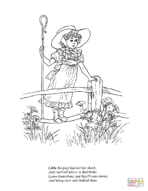 little bo peep has lost her sheep coloring page free