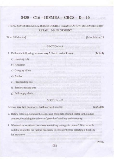Mba 3rd Sem Question Papers by Kud Mba 3rd Sem Question Papers