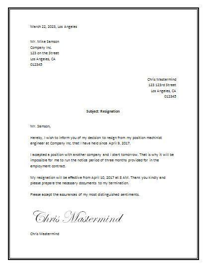 sample resignation letter template word business letter