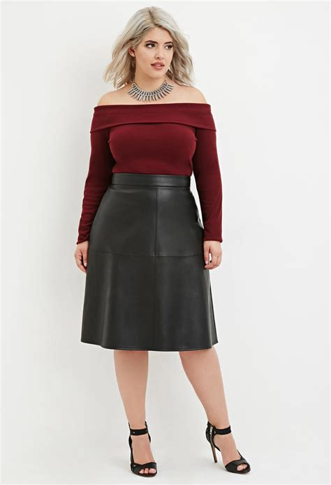 forever 21 plus size faux leather midi skirt in black lyst