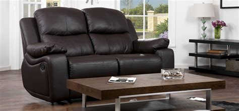 Montreal Espresso Brown Reclining 2 2 Seater Leather Leather Sofas Montreal