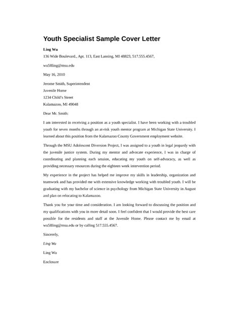 Youth Care Specialist Cover Letter by Cover Letter Youth Work 28 Images Youth Worker Cover Letter Sle Business Contract Between