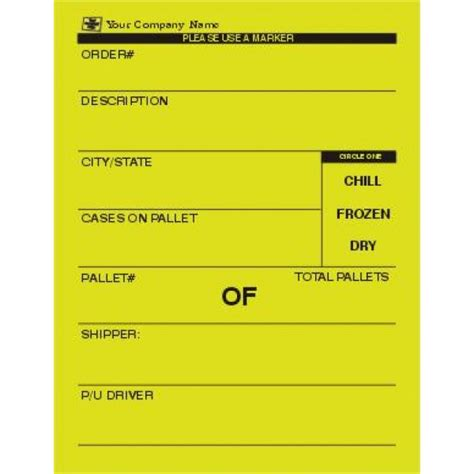 Delivery Forms Bill Of Lading Standard Forms Pallet Tag Template