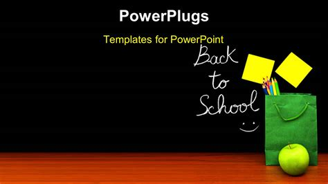 Powerpoint Template Learning Depiction With School Materials And Sticky Note On Chalkboard 2636 Back To School Powerpoint Templates