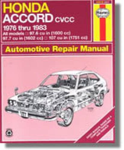auto repair manual online 1983 honda accord user handbook haynes honda accord cvcc 1976 1983 auto repair manual