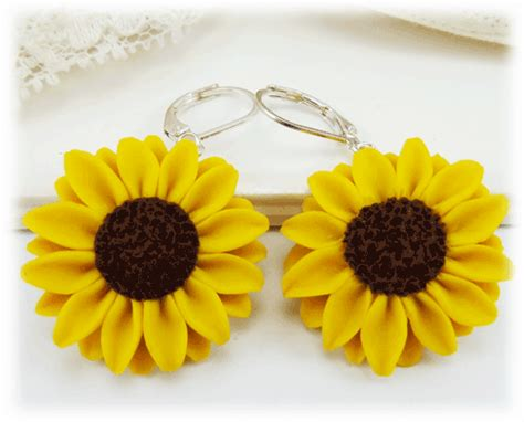 silver plated clip on sunflower earrings large yellow sunflower earrings