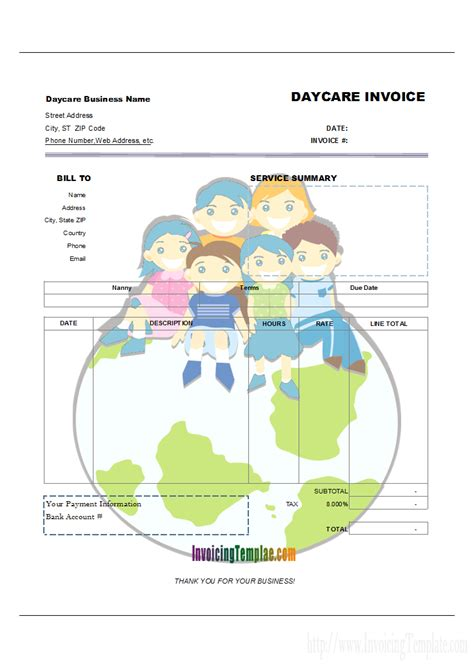 daycare invoice template 28 babysitting invoice template 27 day care invoice