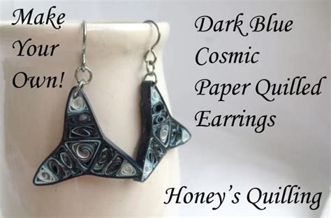 blue cosmic paper quilled earrings make your own