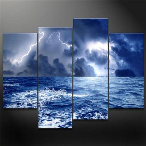 panel blue wall art painting dark clouds gather