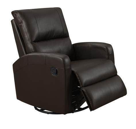 contemporary tufted bonded leather swivel glider recliner