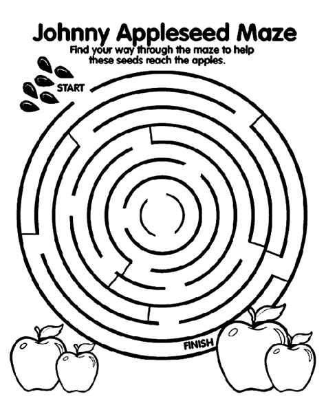 printable apple maze johnny appleseed maze coloring page crayola com