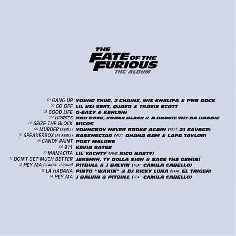 fast and furious 8 lyrics movie soundtracks the fate of the furious tracklist