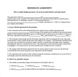 sample roommate agreement template 13 free documents