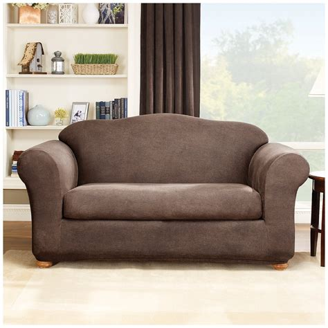small loveseat slipcover dark color sure fit stretch leather wingback loveseat