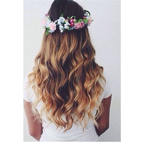 flower headband hairstyles tumblr floral crown with wavy hair pictures photos and images