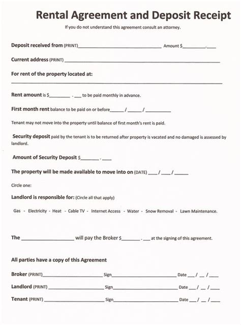 Free Rental Forms To Print Free And Printable Rental Agreement Form Rc123 Com Real Estate Free Blank Lease Agreement Template