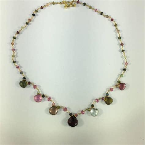 Beautiful Handmade Necklaces - beautiful handmade multi color tourmaline and 18 karat
