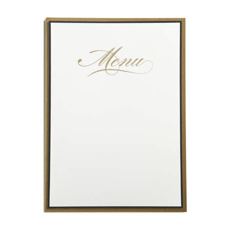 Blank Menu Card Templates by Gold Engraved Printable Menu Card With Backer Bell