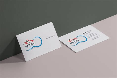 illustration caricatures real estate business cards templates city real estate business card design template 001781