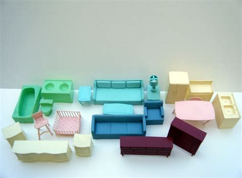 plastic dolls house furniture vinatage dollhouse furniture lot of 23 pieces plastic 1960 s doll hou